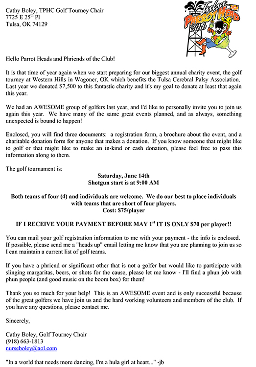 2014 Golf Tournament Invitation Letter Tulsa Parrot Head Club